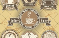 7 Vintage Coffee House Labels Vector
