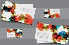 Abstract Watercolor Business Card Templates Vector