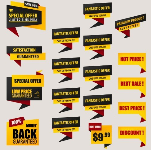 18 Black & Yellow Origami Discount Label Set