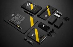 Black Stationery Mockup