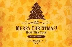 Elegant Orange Christmas & New Year Background Vector 01
