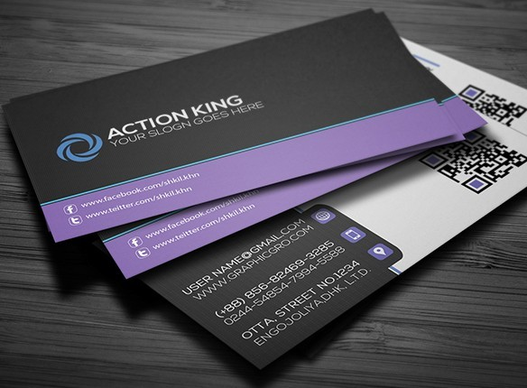 Free Black & Violet Creative Business Card Template PSD ...