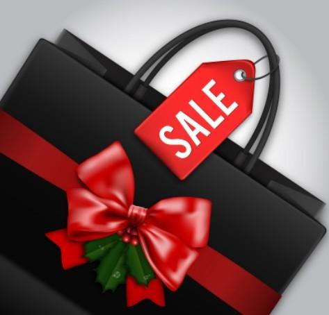Christmas Sale Shopping Bag Template Vector
