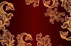 Vintage Gold Floral Pattern Vector 01