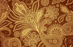 Vintage Gold Floral Pattern Vector 02