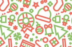 Red & Green Christmas Pattern Vector
