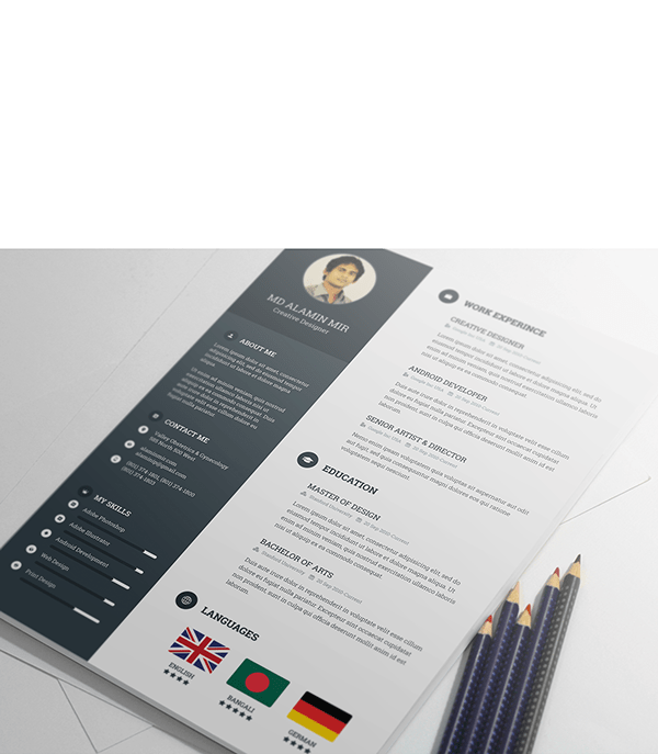 dark resume template psd - Free Artistic Resume Templates