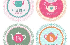 4 Round Tea Time Labels Vector