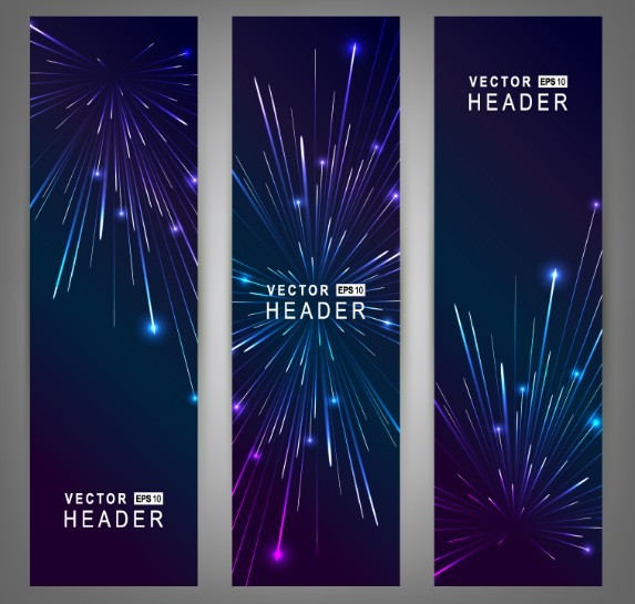 Vertical Fireworks Banner Set Vector