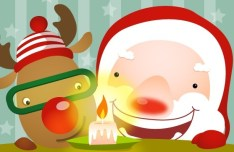 Cute Cartoon Santa Claus Vector 02