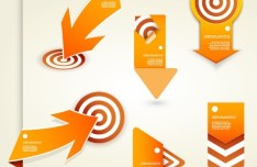 Creative Orange Arrow and Target Set Vector