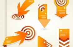 Creative Orange Arrow and Target Set Vector