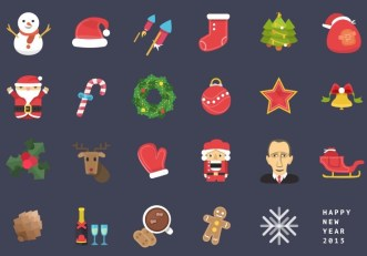 24 Flat Colorful Christmas & New Year Icons PSD