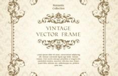 Romantic Vintage Floral Frame Template Vector