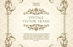 Romantic Vintage Floral Frame Template Vector