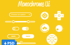 Monochrome UI Kit PSD