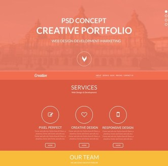 Creative Flat One Page Web Template PSD