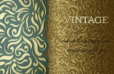 Vintage Green & Yellow Floral Background Vector