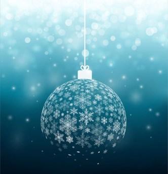 Blue Christmas Ball Of Snowflakes Vector