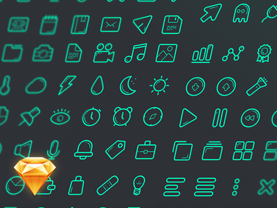 Green Line Icons Set Sketch