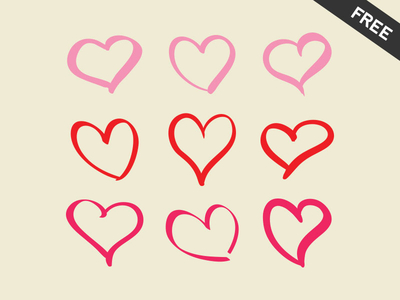 9 Hand Drawn Pink Hearts Vector
