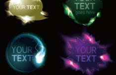 Fashion Glowing Label Set Vector
