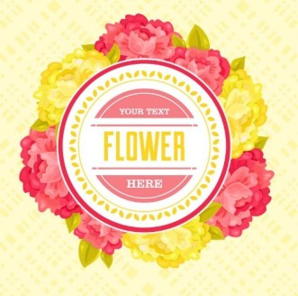 Red & Yellow Flower Badge Vector