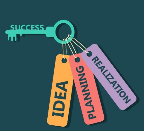 Creative Flat Success Key Vector