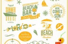Orange Summer Beach Holiday Design Elements Vector
