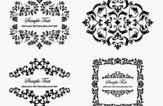 4 Vintage Floral Ornaments Vector