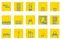 IKEA Furniture Icon Set Vector