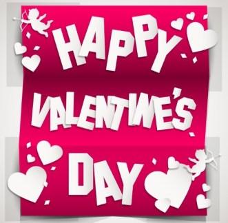 3D Tri-Fold Happy Valentine's Day Card Vector
