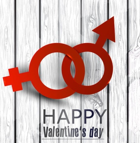 Linked Gender Symbols For Valentine's Day Vector