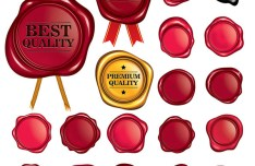 3D Red Quality Badge Set Vector
