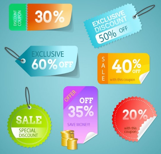 Discount & Coupon Label Set Vector