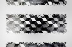 3D Grey Cubes Banner Set Vector