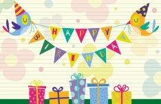 Cartoon Birthday Giftbox Card Vector