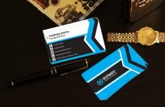 Modern Blue Corporate Business Card Template PSD