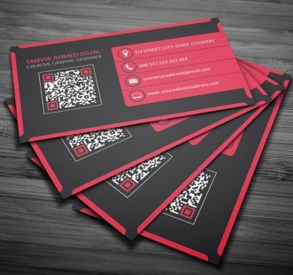 Red & Drak Modern Corporate Business Card Mockup
