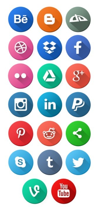 20 Flat Round Social Media Icons (PSD+PNG)