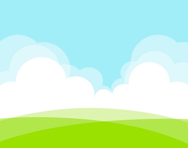Grassland White Clouds Vector Illustration