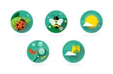 5 Circular Spring Icons PSD