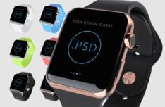 6 Colors Apple Watch Mockups PSD