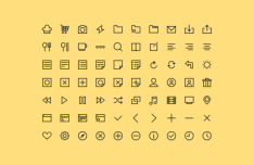 70 Simple Line Icons PSD