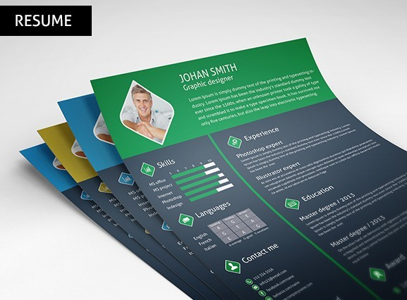 Free 3 Color Resume / CV Template PSD - TitanUI