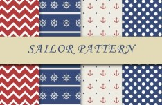 4 Sailor Patterns Vector