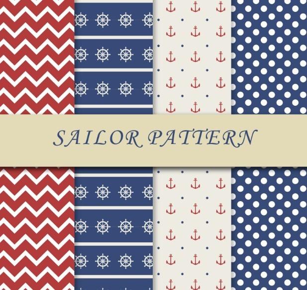 4 Sailor Patterns Vector