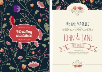 Graceful Floral Wedding Invitation Card Vector