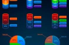4 Infographic Element Sets PSD