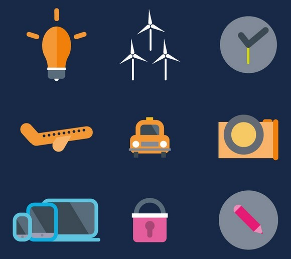 36 Flat Abstract Icons Vector